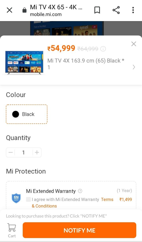 Mi 4X 65 Inch 4k Led Tv On Mi Store (Mi.com)