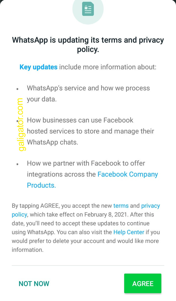 WhatsApp Latest Terms And Privacy Policy Update Notification